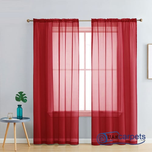 red sheer curtains